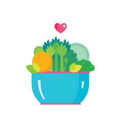 salad bowl organic fruits and vegetables healthy vector image