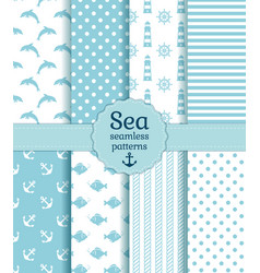 sea seamless patterns collection vector image