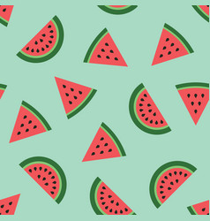 Seamless background with green watermelon slices vector