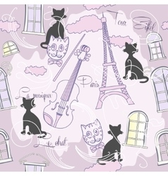 Seamless pattern with Paris and music-04 vector