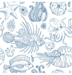 Seamless pattern with sketch deepwater living vector