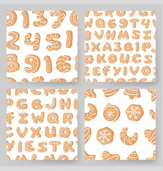 set of cartoon ginger bread cookies hand drawn vector image