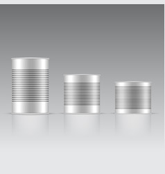 set of white and metallic tin can with white cap vector image
