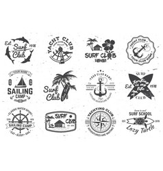 set sailing camp yacht club and surf club vector image