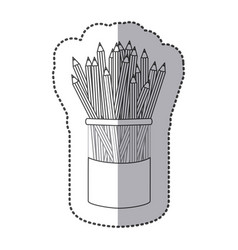 Silhouette pencils color inside butter jar vector