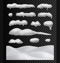 snow caps snowballs set snowdrifts collection vector image