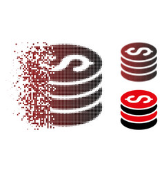 Sparkle pixel halftone dollar coins stack icon vector