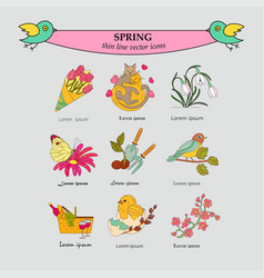 spring thin line colored icons vector image