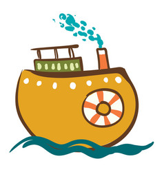 stem ship with life preserver or color vector image