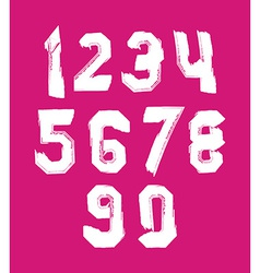 Stroked white numbers set drawn with real ink vector image