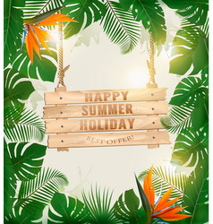 Summer holiday background with exotic palm leaves vector