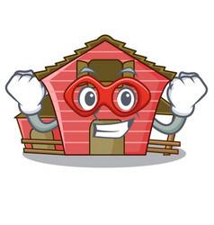 Super hero a red barn house character cartoon vector