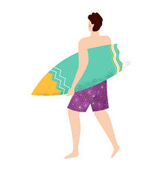 surfer going with surfboard water activity vector image