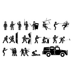 swat special weapons and tactics icons stickman vector image