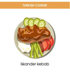 Tasty iskander kebab with vegetables from turkish vector