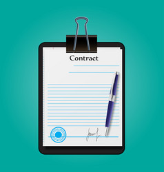 The contract document signed and sealed vector