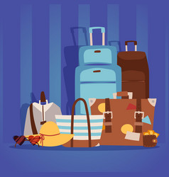 travel bags packed for summer vacation on the vector image