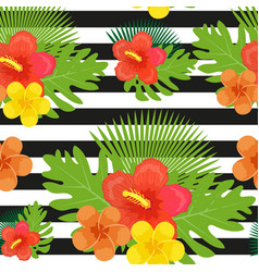tropical flowers plants leaves and black and vector image