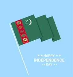 Turkmenistan independence day typographic design vector