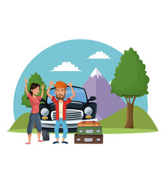 vacations on road cartoon vector image