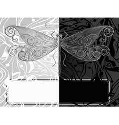 Vintage dragonfly style vector