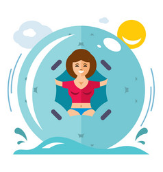 Water zorbing concept flat style colorful vector