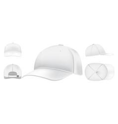 white cap mockup sport caps top view baseball vector image