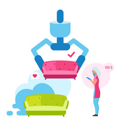 Woman buying couch flat girl choosing sofa color vector