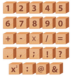 Wooden block math number and symbol vector