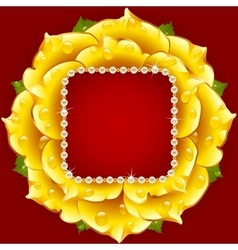 yellow Rose circle frame vector image