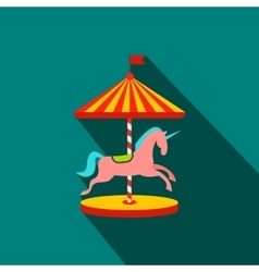 Carousel with horses flat icon vector image