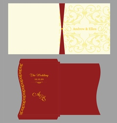 Floral Square Invitation with Envelope vector image vector image