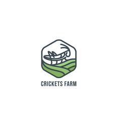 grasshopper on the field geometric figure logo vector image vector image