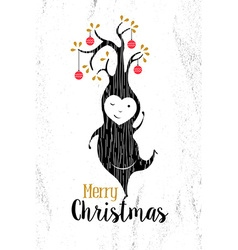 Merry christmas black white elf tree xmas retro vector