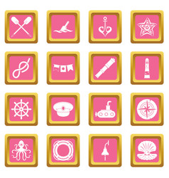 nautical icons pink vector image vector image