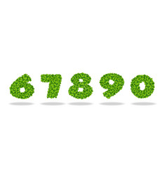 numeral from the leaves of the clover numeral 6-0 vector image