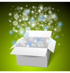 Open white gift box on the snow Christmas green vector image vector image