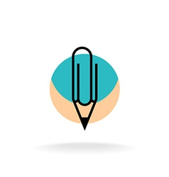 Pencil and paperclip symbol cleric office logo vector image vector image
