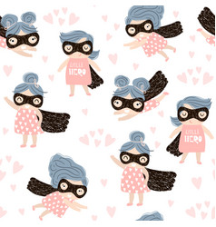 seamless childish pattern with cute little girl vector image vector image