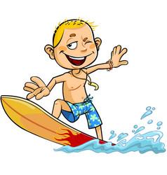 boy on the surfboard vector image