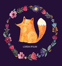 Fox and flowers vector