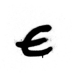sprayed e font graffiti with leak in black vector image vector image