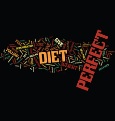 the perfect diet to lose weight fast text vector image vector image
