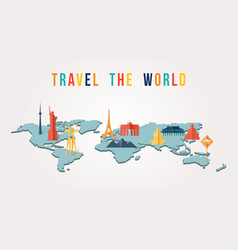 travel the world paper cut monument map design vector image vector image