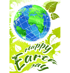 world earth day grunge style vector image