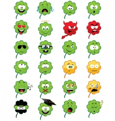 clover shaped emoticons vector image