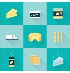 all cheese types icon set vector image vector image