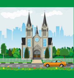 catholic church cathedral with city skylines vector image vector image
