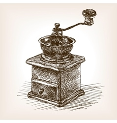 Coffee mill sketch style vector image