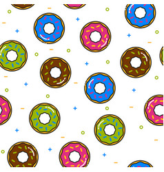 donut colorful seamless pattern with icing on vector image